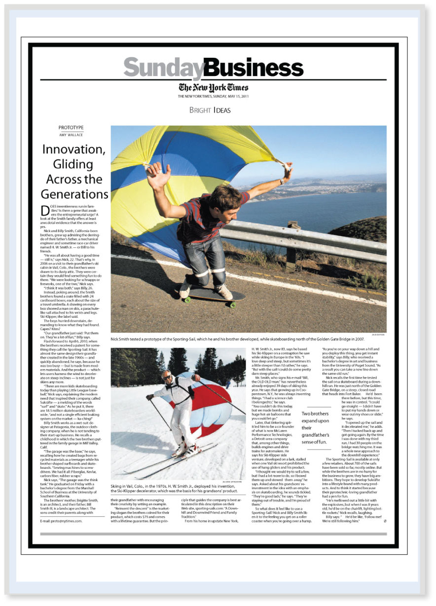 SPORTING-SAILS - The New York Times - Sunday Business